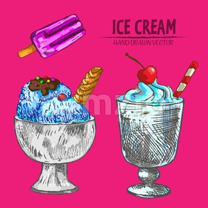 Digital vector detailed line art ice cream in random dish and hand drawn retro illustration collection set. Thin artistic pencil outline. Vintage ink Stock Vector