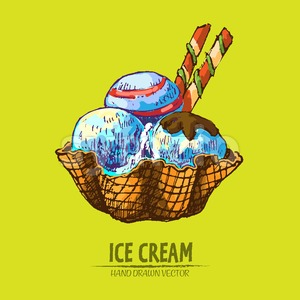 Digital vector detailed line art ice cream in waffle cone hand drawn retro illustration collection set. Thin artistic pencil outline. Vintage ink Stock Vector