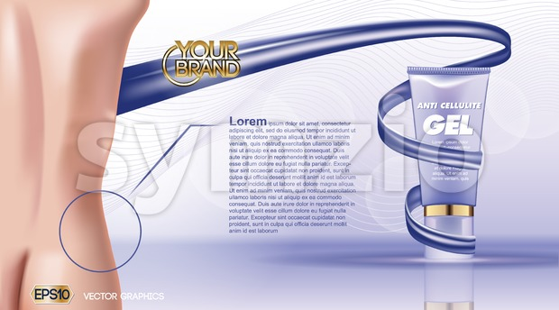 Digital vector blue violet anti cellulite skin care cosmetic container mockup with gel, your brand, ready for print ads or ...