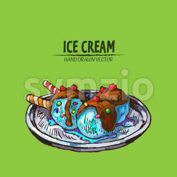 Digital vector detailed line art ornamented ice cream balls hand drawn retro illustration collection set. Thin artistic pencil outline. Vintage ink Stock Vector