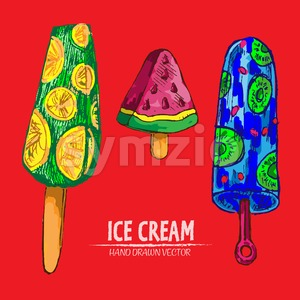 Digital vector detailed line art juicy ice cream on stick hand drawn retro illustration collection set. Thin artistic pencil outline. Vintage ink Stock Vector