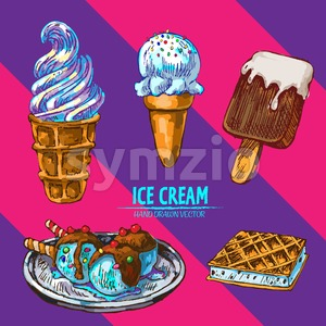 Digital vector detailed line art random ice cream with cream hand drawn retro illustration collection set. Thin artistic pencil outline. Vintage ink Stock Vector
