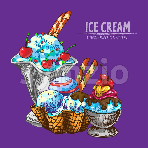 Digital vector detailed line art random ornamented ice cream hand drawn retro illustration collection set. Thin artistic pencil outline. Vintage ink Stock Vector
