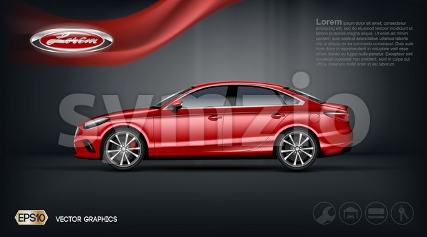 Digital vector red car with black windows mockup Stock Vector