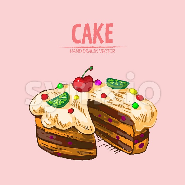 Digital vector detailed line art sliced cake with fruits hand drawn retro illustration collection set. Thin artistic pencil outline. Vintage ink flat, Stock Vector