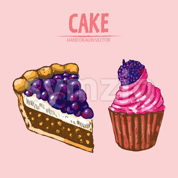 Digital vector detailed line art slice of cake with cupcake hand drawn retro illustration collection set. Thin artistic pencil outline. Vintage ink Stock Vector
