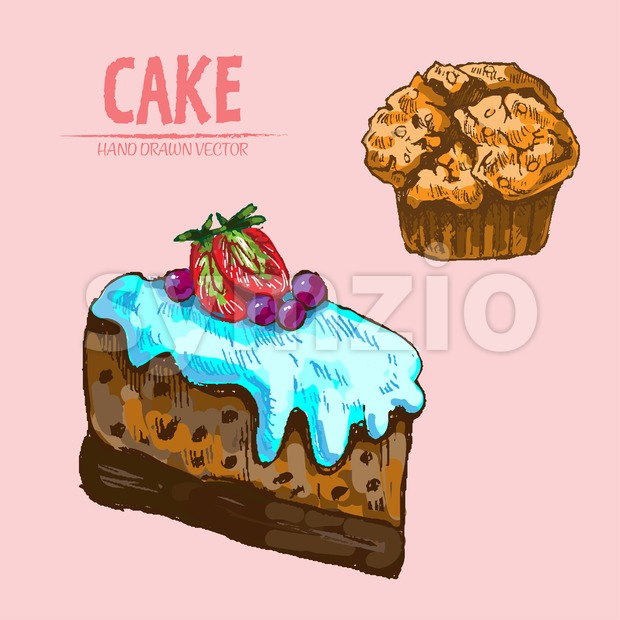 Digital vector detailed line art cake slice, cupcake with fruits hand drawn retro illustration collection set. Thin artistic pencil outline. Vintage Stock Vector