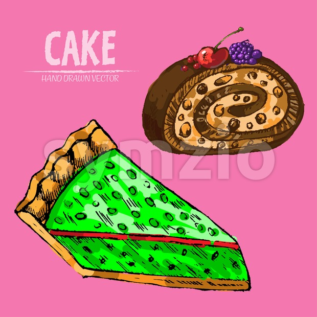 Digital vector detailed line art cake roll and pie slices hand drawn retro illustration collection set. Thin artistic pencil outline. Vintage ink Stock Vector