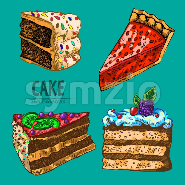 Digital vector detailed line art pie and cake slices with fruits hand drawn retro illustration collection set. Thin artistic pencil outline. Vintage Stock Vector