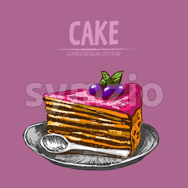 Digital vector detailed line art slice of cake with spoon on dish hand drawn retro illustration collection set. Thin artistic pencil outline. Vintage Stock Vector