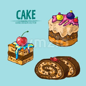 Digital vector detailed line art slices of cake roll with fruits hand drawn retro illustration collection set. Thin artistic pencil outline. Vintage Stock Vector