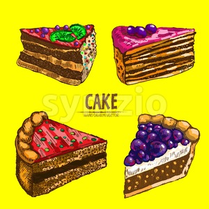 Digital vector detailed line art cake and roll slices with fruits hand drawn retro illustration collection set. Thin artistic pencil outline. Vintage Stock Vector