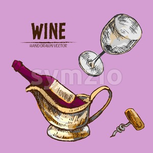 Digital vector detailed line art wine, wineglass and opener and hand drawn retro illustration collection set. Thin artistic pencil outline. Vintage Stock Vector