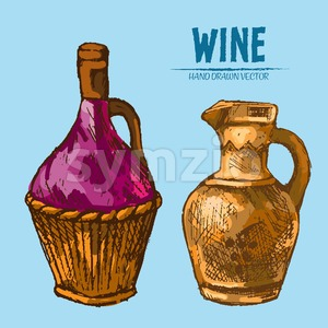 Digital vector detailed line art wine pitchers with ornaments and hand drawn retro illustration collection set. Thin artistic pencil outline. Vintage Stock Vector