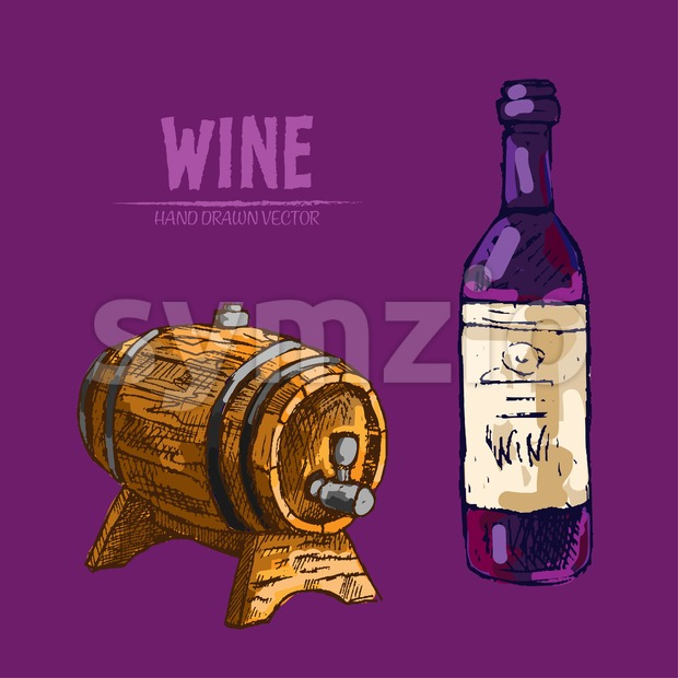 Digital vector detailed line art wine bottle and wood barrel hand drawn retro illustration collection set. Thin artistic pencil outline. Vintage ink Stock Vector
