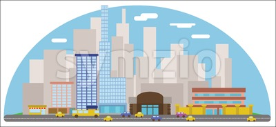 Digital vector abstract background with cityscape Stock Vector
