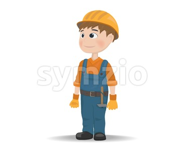 Man worker construction builder Vector. Cartoon character Stock Vector