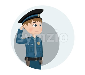 Policeman icon Vector. Cartoon character. template design illustration Stock Vector