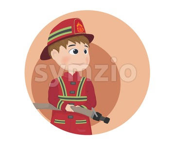 Fireman icon Vector. Cartoon character equiped. Template illustration Stock Vector