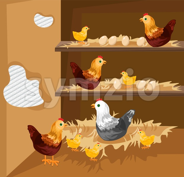 Chicken nesting in a coop Vector. Ecological free range growing animals Stock Vector