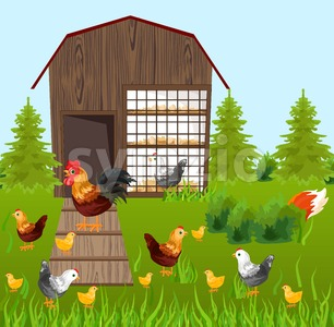 Chicken farm coop Vector. Spring season green background Stock Vector