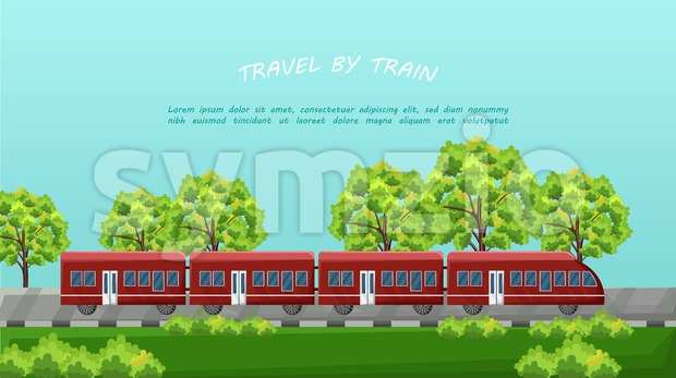 Train traveling Vector. Red vehicle on Beautiful green background