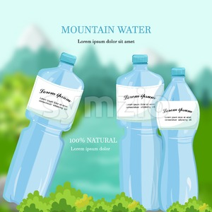 Water bottles Vector. Mountain fresh water Detailed product packaging Stock Vector