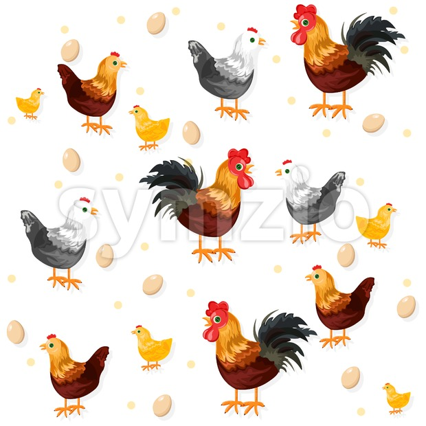 Rooster, chicken and eggs pattern Vector. Eco farming