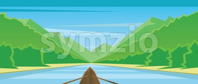 Digital vector abstract background with a boat Stock Vector