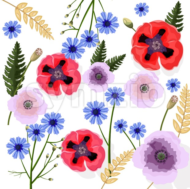 Poppy flowers pattern Vector. Floral background decor Stock Vector