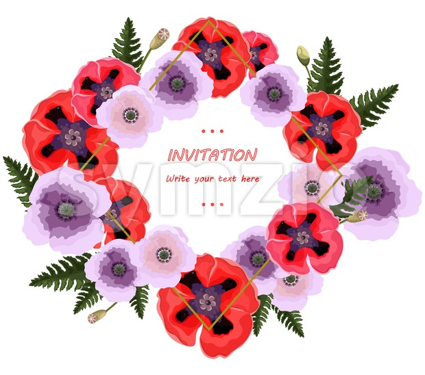 Poppy flowers wreath Vector. Floral background decor Stock Vector