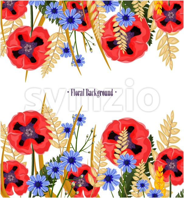 Poppy flowers card Vector. Floral background decor Stock Vector