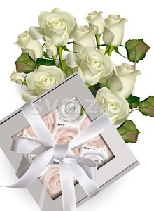 Sweet meringues gift box and white roses bouquet Vector illustration Stock Vector