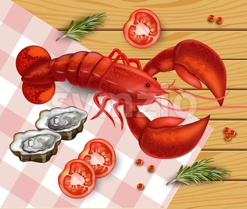 Fresh Lobster Vector. Fresh Detailed seafood 3d illustration Stock Vector