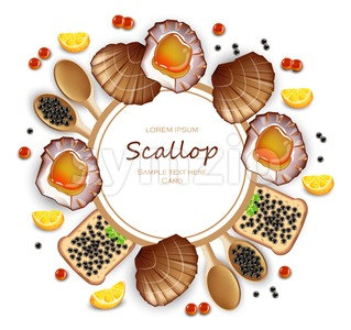Scallops and caviar card Vector realistic seafood. Fresh shellfish. 3d detailed illustration Stock Vector