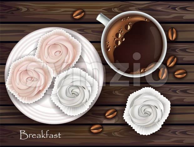Sweet meringues and coffee Vector. Realistic 3d illustration. Top view Stock Vector