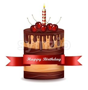 Happy Brithday cake Vector. Chocolate cake with cherries on top Stock Vector