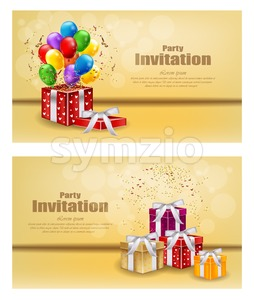 Gifts and Balloons party invitation card Vector. celebrate events banner poster Stock Vector