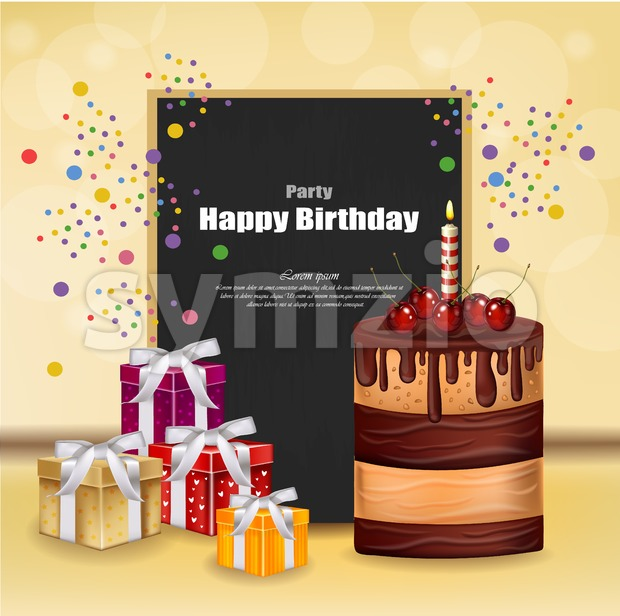 Party invitation card with giftbox, cake and balloons Vector. Happy Birthday text. celebrate events banner poster Stock Vector