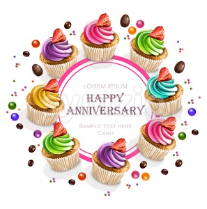 Happy Anniversary Cupcakes card Vector realistic. Round banner frame 3d illustration Stock Vector