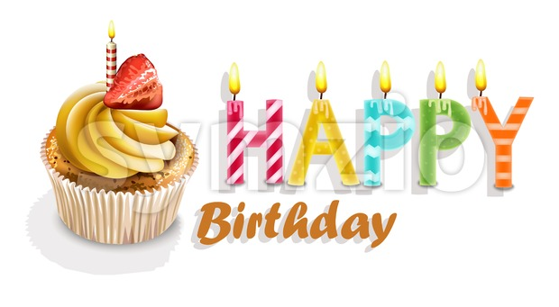 Happy Birthday Cupcakes card Vector realistic. 3d illustration