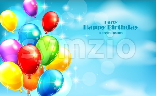 Balloons party invitation card Vector. celebrate events banner poster Stock Vector