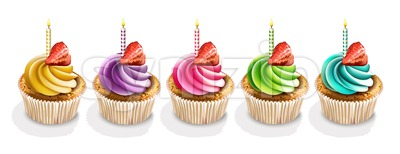 Happy Anniversary Cupcakes isolated Vector realistic. 3d illustration Stock Vector
