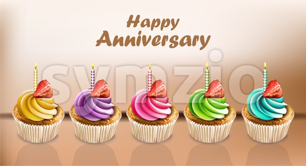 Happy Anniversary Cupcakes card Vector realistic. 3d illustration Stock Vector