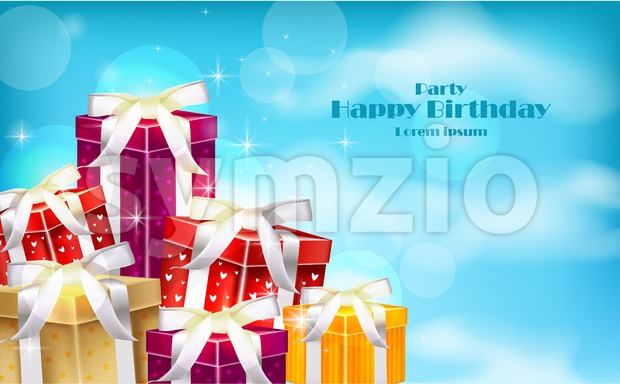 Gift boxes on blue sky background. Vector realistic 3d illustration