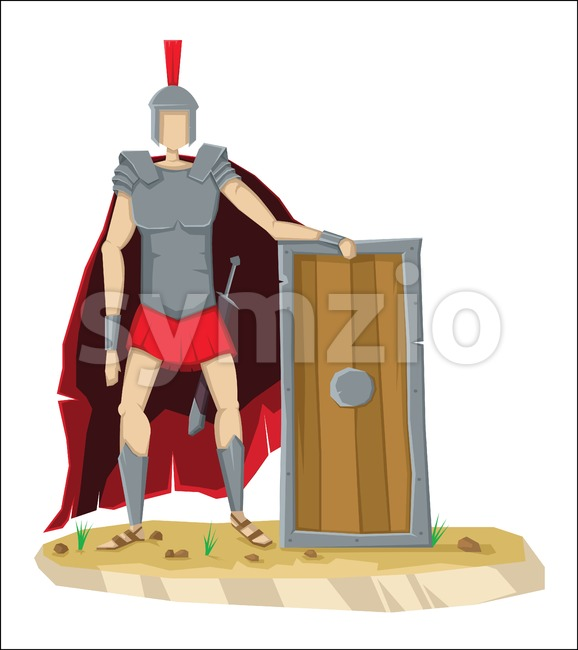 Digital vector tall roman legionnaire with armor Stock Vector