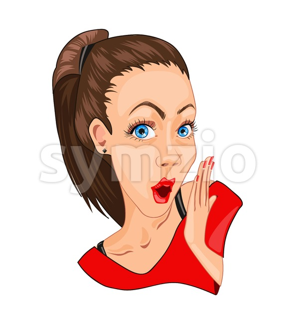 Beautiful girl surprised Vector. Happy stunned emotions. Cartoon detailed character