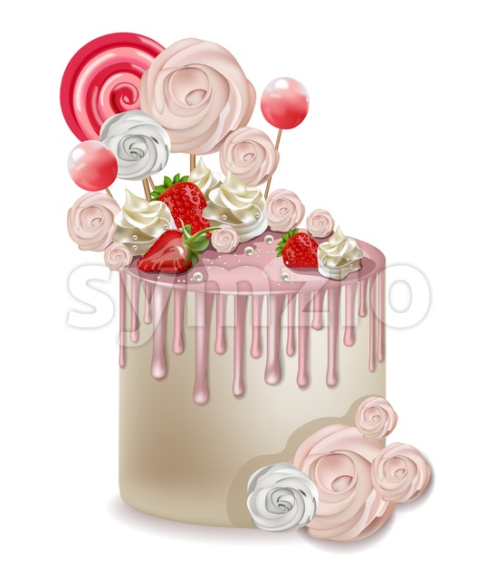 Happy Birthday pink cake Vector realistic. Lollipops and meringues on top. 3d detailed illustration Stock Vector