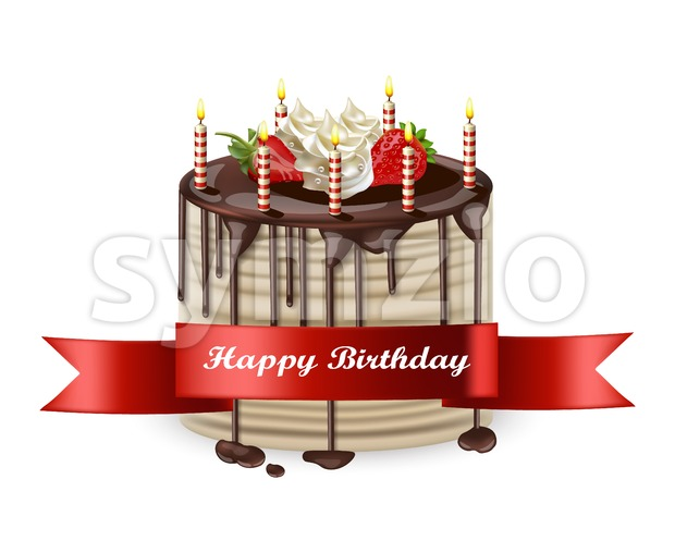 Happy Birthday cake Vector realistic. 3d detailed illustration Stock Vector