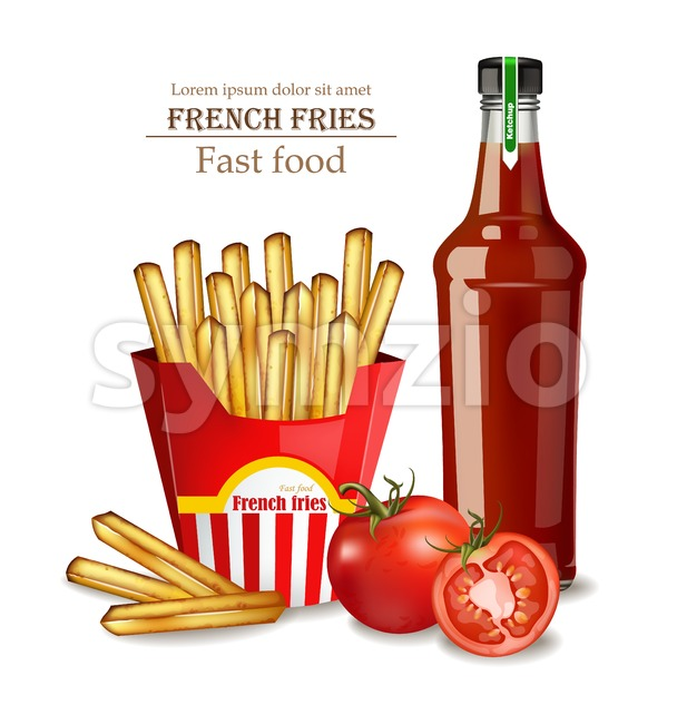 French fries and ketchup bottle Vector realistic illustration 3d Stock Vector